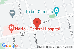 Map of 216 West St, Unit 105, Simcoe, Ontario - Norfolk FHO 7 After Hours Clinic - Norfolk FHO 7 After Hours Clinic
