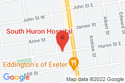 Map of 23 Huron St W, Exeter, Ontario - South Huron Hospital Association Walk-in Clinic - South Huron Hospital Association Walk-in Clinic