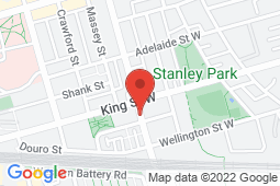 Map of 901 King St W, Suite 105, Toronto, Ontario - GSH Medical Liberty Village - GHS Medical