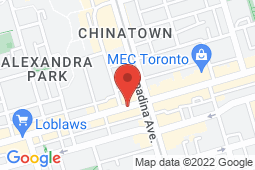 Map of 455 Queen St W, Toronto, Ontario - Queen and Spadina Medical Centre - Port Credit Walk-in Clinic and Medical Center