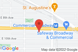 Map of 2516 Commercial Drive, Vancouver, British Columbia - Broadway Station Medical Clinic - Broadway Station Medical Clinic