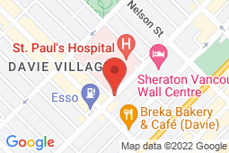 Map of 1160 Burrard Street, Vancouver, British Columbia - Wave Medical Clinic - Wave Medical Clinic