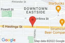 Map of 678 East Hastings Street, Vancouver, British Columbia - Doc-Side Medical - Doc-Side Medical