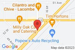 Map of 4956 Highway 2A, Lacombe, Alberta - Medcombe Walk In Clinic - Medcombe Walk In Clinic
