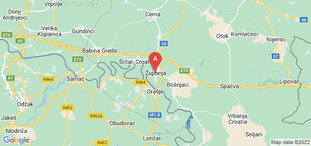 map of Županja, Croatia