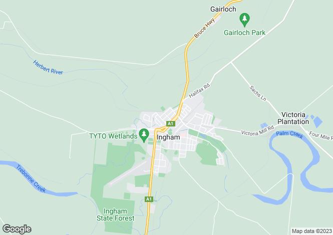 Map for Queensland, Ingham
