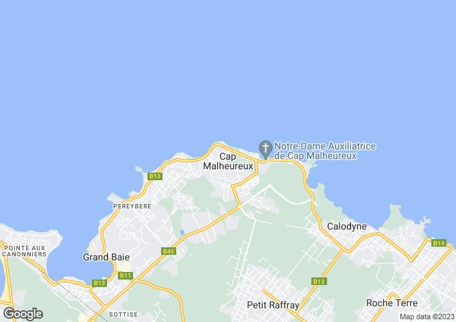 Map for Cap Malheureux
