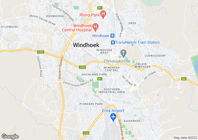 Map for Windhoek, Khomas