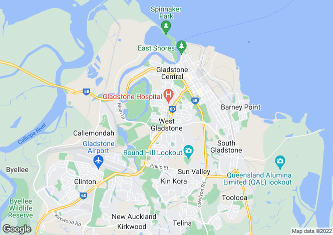 Map for Queensland, West Gladstone
