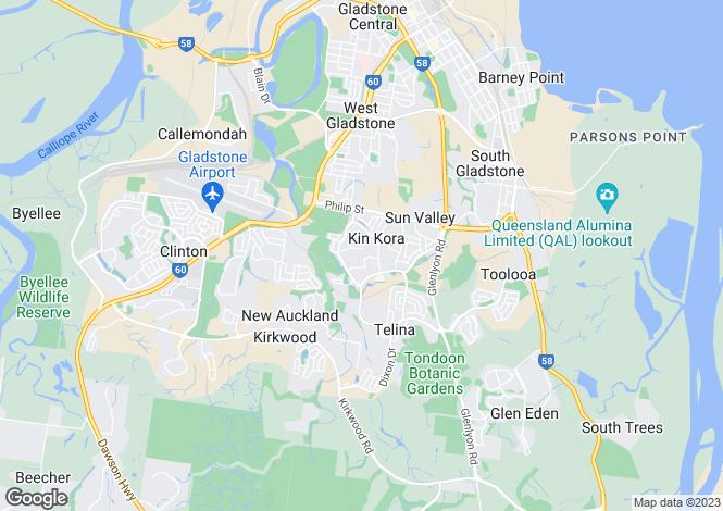 Map for Queensland, Kin Kora