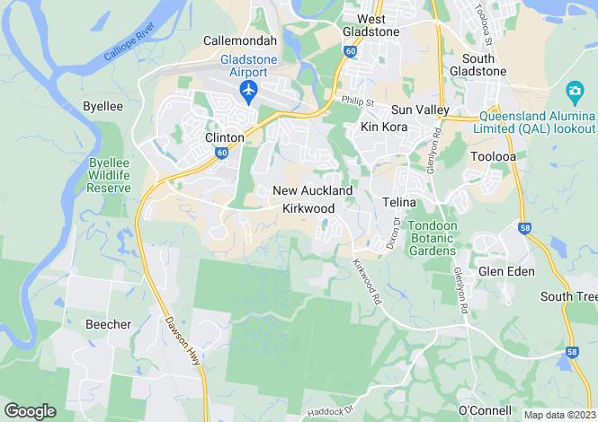 Map for Queensland, Kirkwood