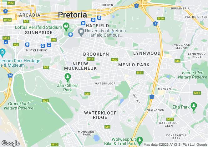 Map for 173 Premier Street, Waterkloof, Pretoria, Gauteng