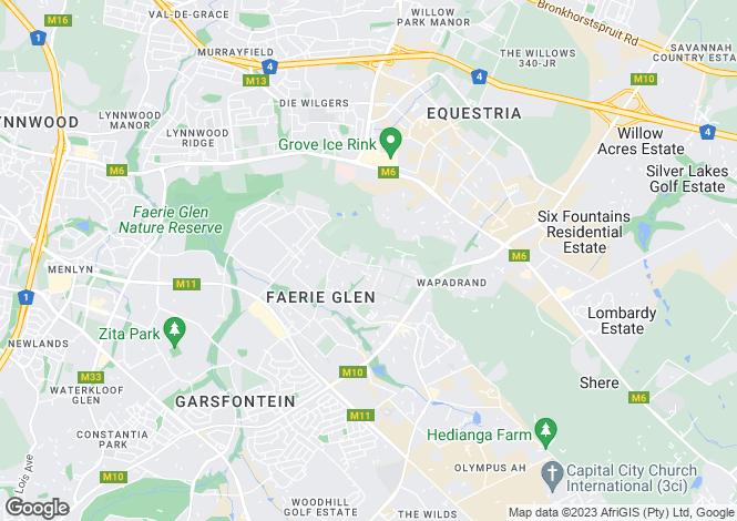 Map for Tshwane, Gauteng