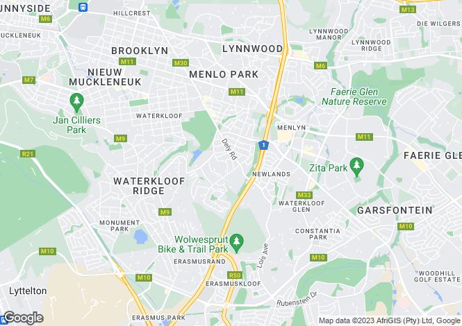 Map for 169 Outeniqua Road, Waterkloof Park, Pretoria, Gauteng