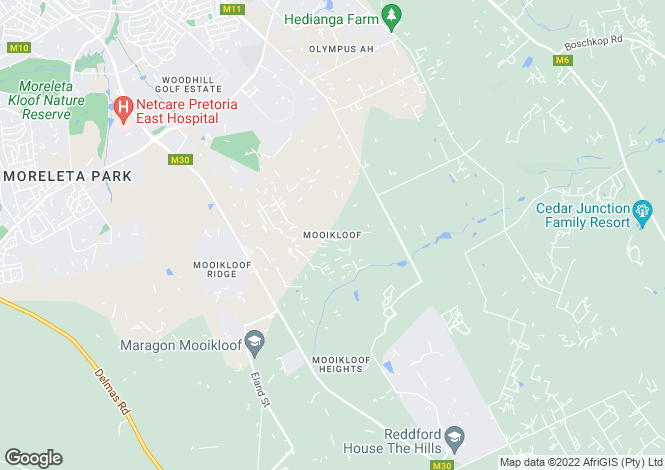 Map for Mooikloof, Pretoria East, Gauteng
