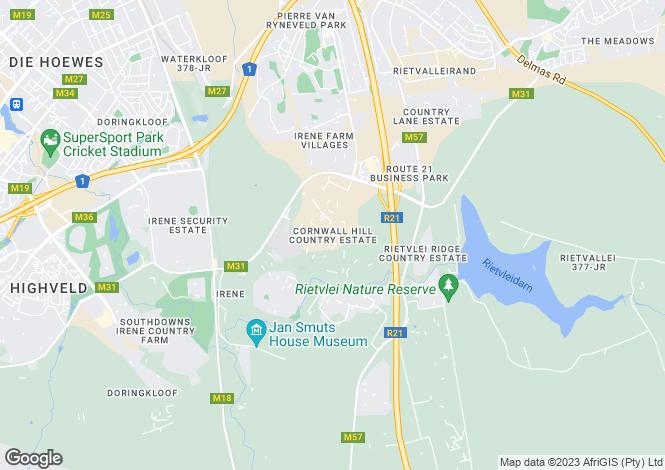 Map for 351 Downderry Street, Cornwall Hill, Centurion, Gauteng