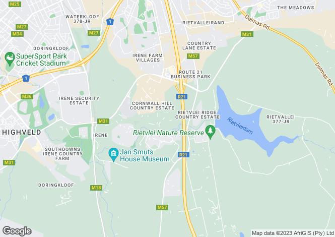 Map for Kelly Bray Lane, Cornwall Hill Estate, Pretoria, Gauteng