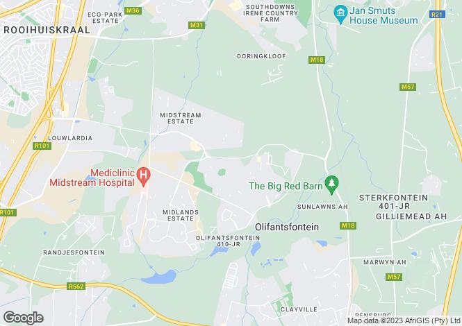 Map for Centurion, Gauteng