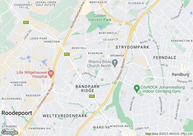 Map for Sherwell Avenue, Boskruin, Randberg, Gauteng