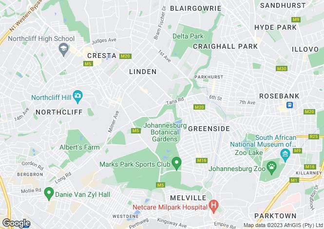 Map for Gauteng, Johannesburg