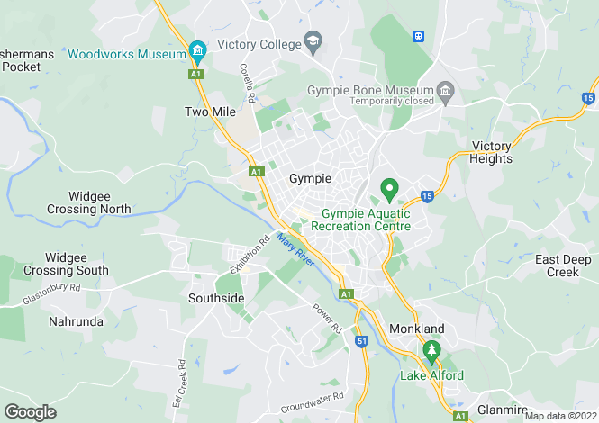 Map for 1 Earl Street, GYMPIE 4570