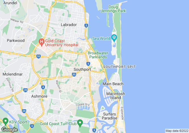 Map for Queensland, Southport