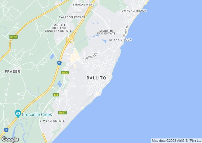 Map for Ballito, KwaZulu-Natal