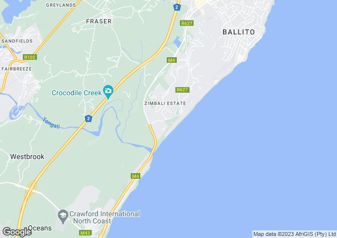 Map for Zimbali, KwaZulu-Natal