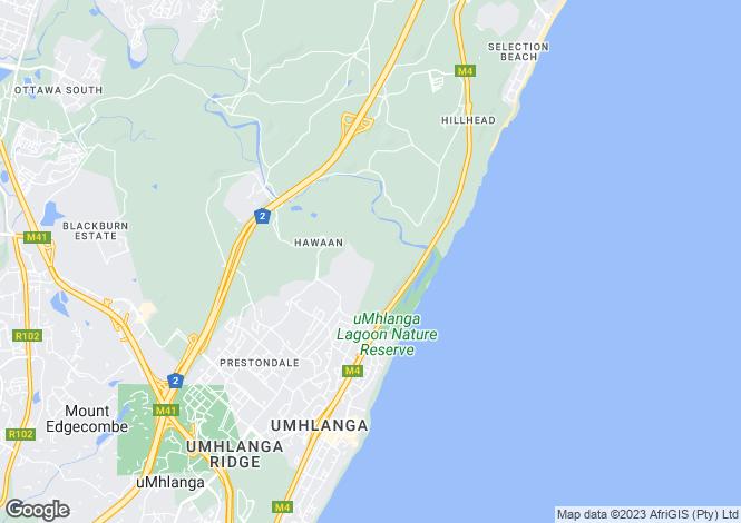 Map for Umhlanga Rocks, KwaZulu-Natal