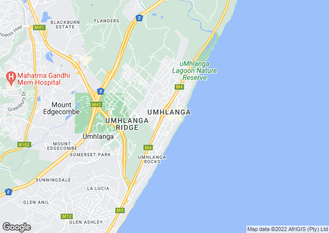 Map for Umhlanga, KwaZulu Natal