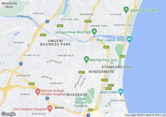 Map for Durban, KwaZulu-Natal
