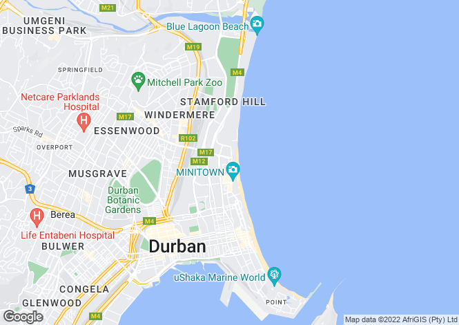 Map for 167 Snell Parade, North Beach, Durban