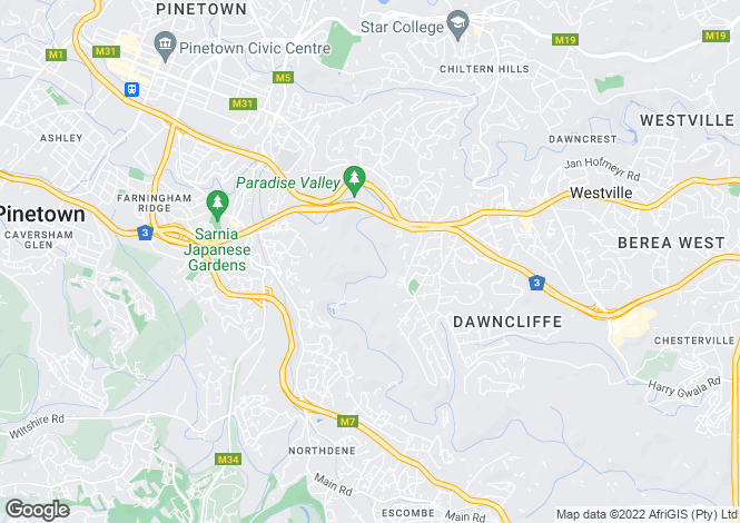 Map for Pinetown, KwaZulu-Natal