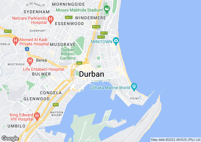 Map for Durban, KwaZulu-Natal