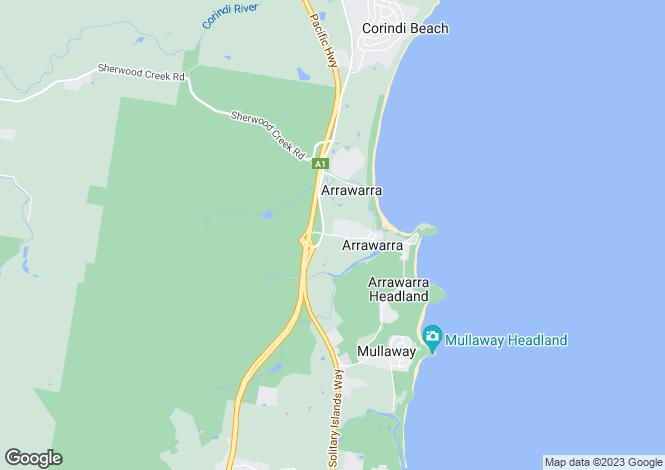 Map for 24 Arrawarra Beach Road, ARRAWARRA 2456