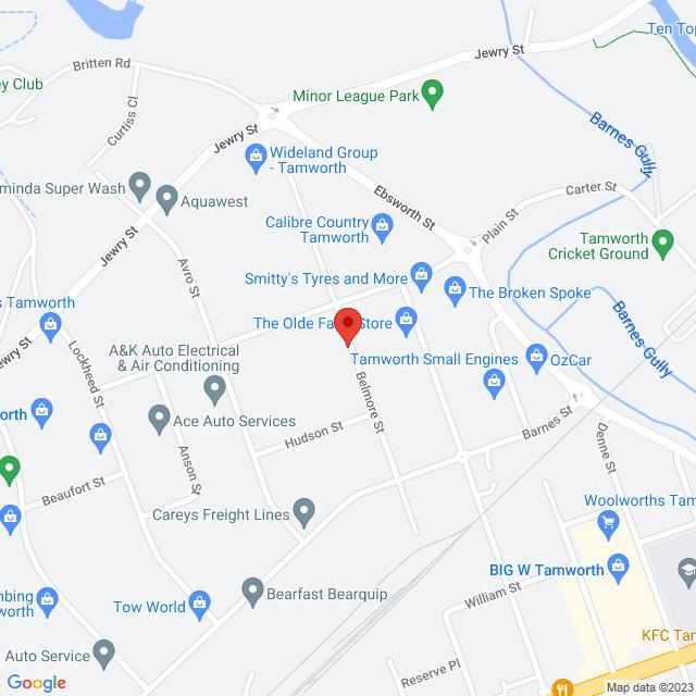 Wideland Used Cars (Tamworth) Location Map