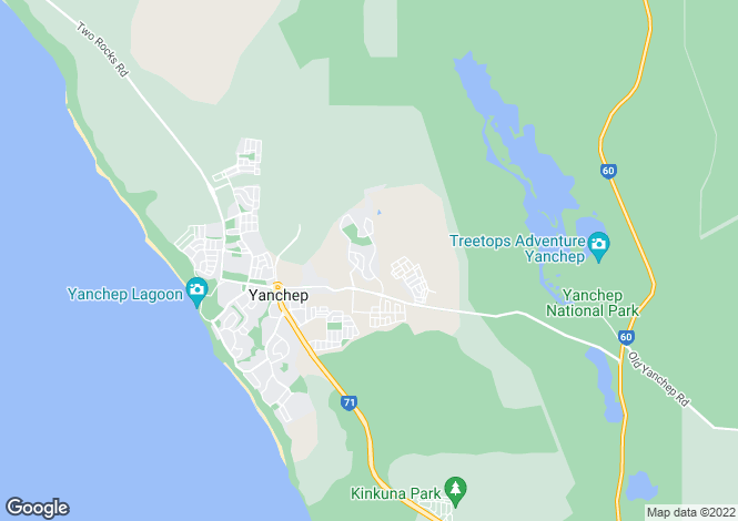 Map for Yanchep, Perth, Western Australia