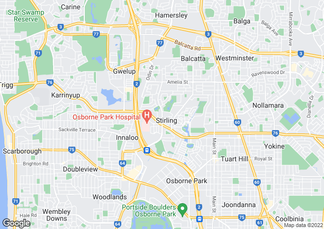 Map for Western Australia, Perth, Stirling