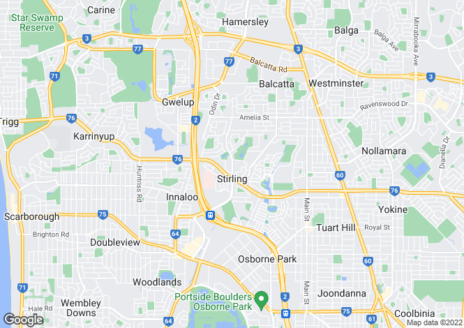 Map for Western Australia, Stirling
