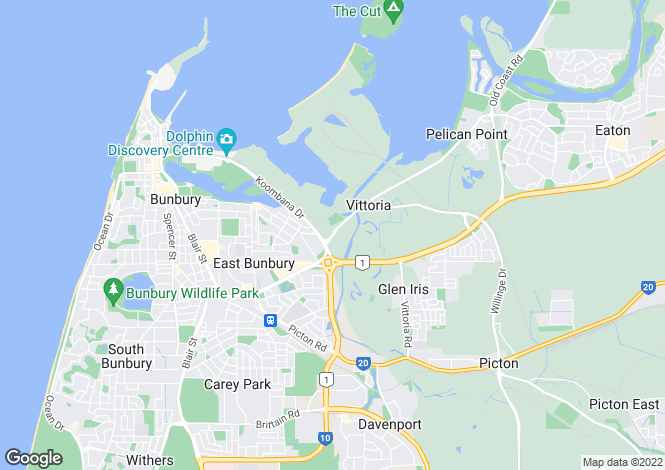Map for 63 King Road, EAST BUNBURY 6230