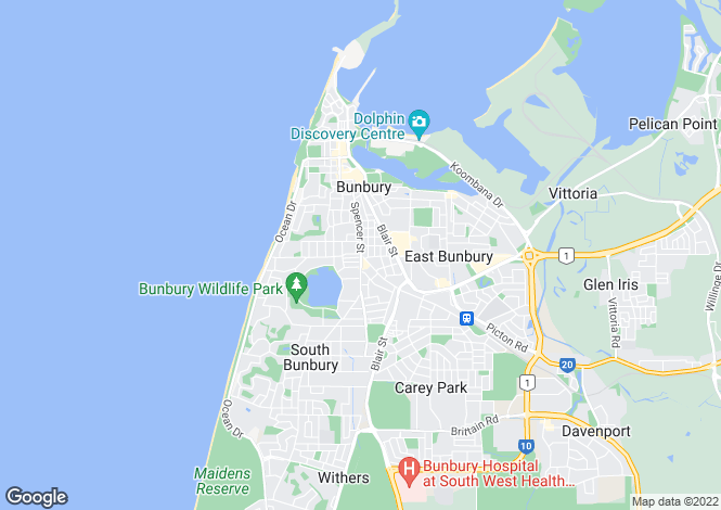 Map for 40 Hakea Crescent, SOUTH BUNBURY 6230