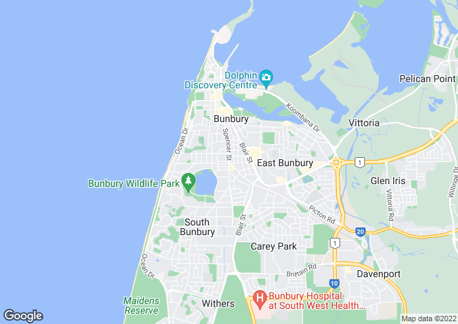 Map for Unit 3/61 Clarke Street, SOUTH BUNBURY 6230