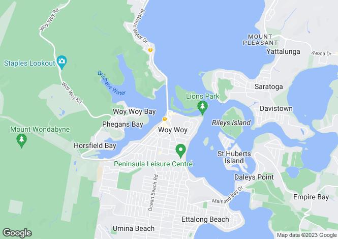 Map for 213 Burge Rd, WOY WOY 2256