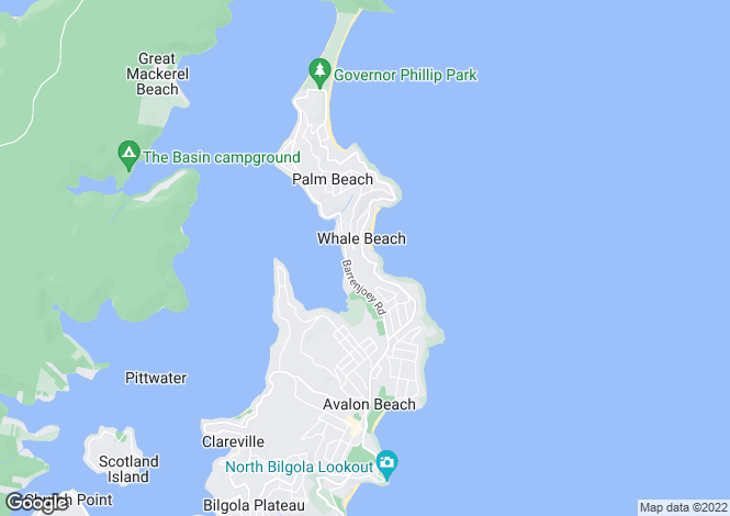 Map for Whale Beach, New South Wales