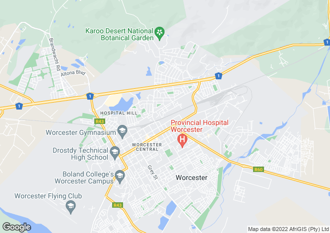 Map for Western Cape, Worcester