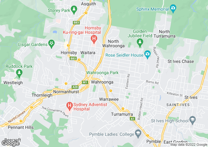 Map for 1A Hampden Avenue, Wahroonga 2076