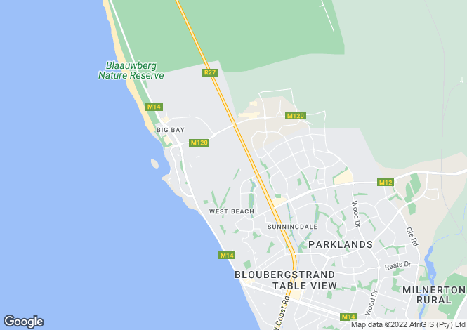 Map for Western Cape, Bloubergstrand