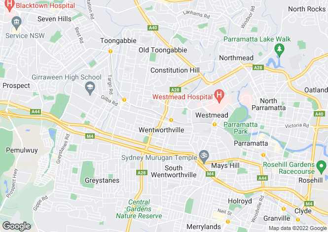 Map for Wentworthville, Sydney, New South Wales