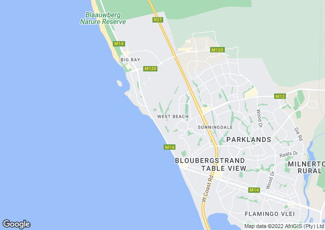Map for Bloubergstrand, Western Cape