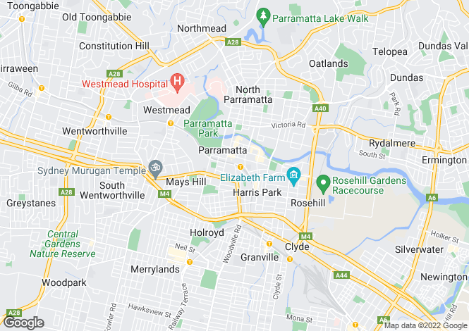 Map for Parramatta, Sydney, New South Wales